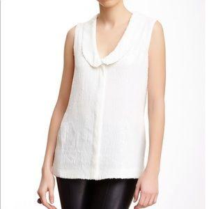 Rachel Zoe Tenley White Sequin Sleeveless Blouse 6
